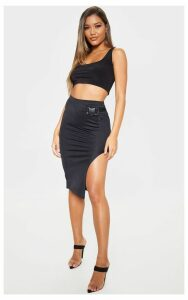 Black Buckle Detail Side Split Midi Skirt, Black