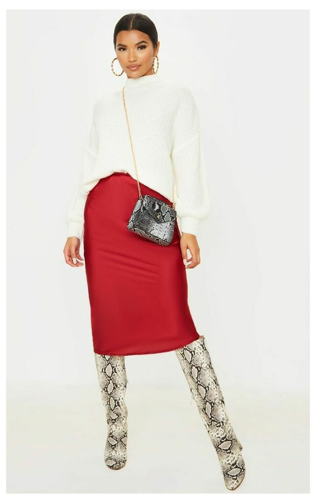 Burgundy Satin Midi Skirt, Red