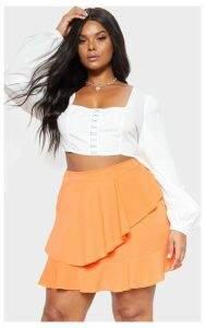 Plus Tangerine Frill Detail Mini Skirt, Tangerine