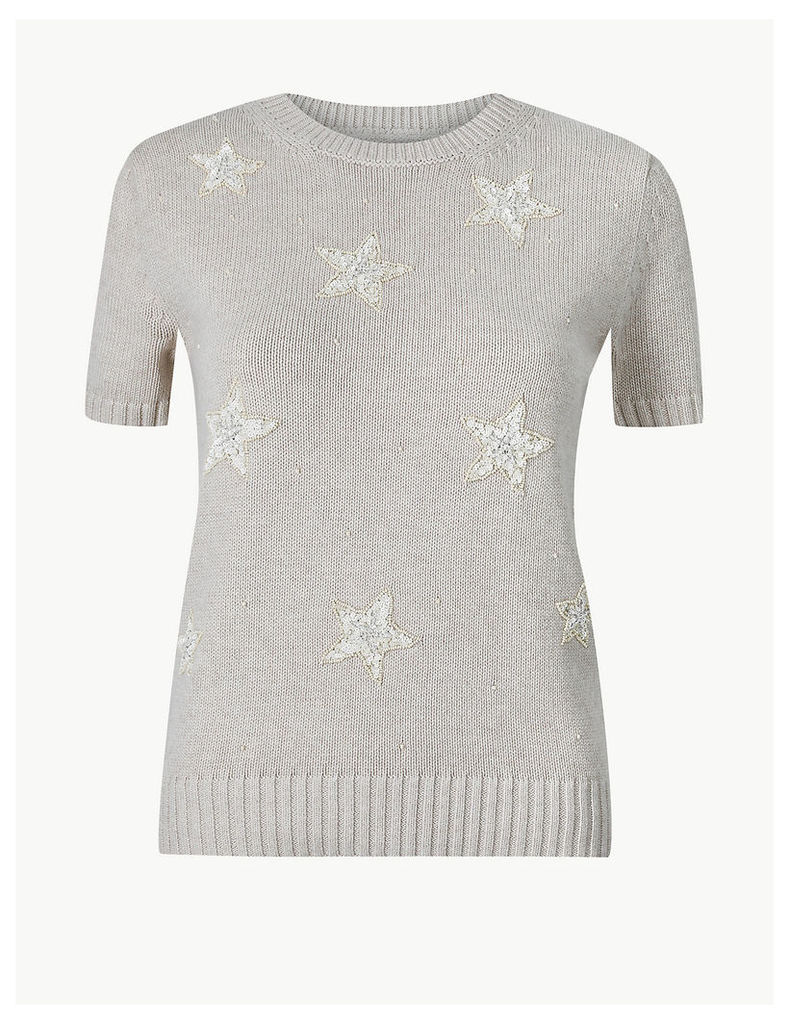 M&S Collection Pure Cotton Embellished Knitted Top