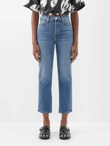 Staud - Pearl Checked Ruffled Crop Top - Womens - Light Blue