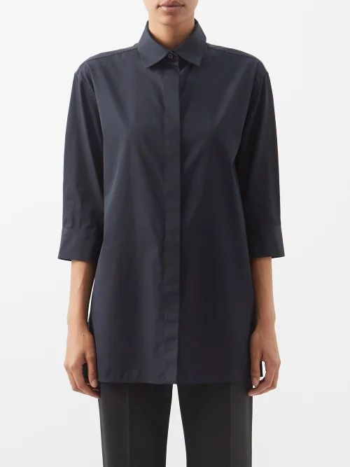 Etro - Floral Print Quilted Silk Twill Kimono Coat - Womens - Blue Multi