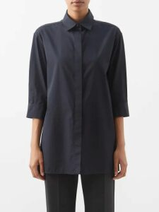 Etro - Floral Print Quilted Silk Twill Kimono Style Coat - Womens - Blue Multi