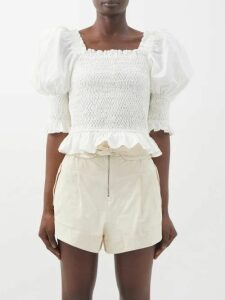Françoise - Bow Stripe Trim Linen Blend Midi Dress - Womens - Black