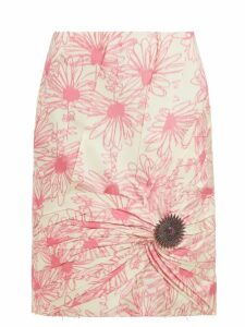 Calvin Klein 205w39nyc - Brooch Embellished Floral Print Silk Skirt - Womens - Pink White