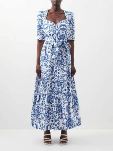 Johanna Ortiz - Old Garden Ruffled Floral Print Silk Gown - Womens - Red Multi