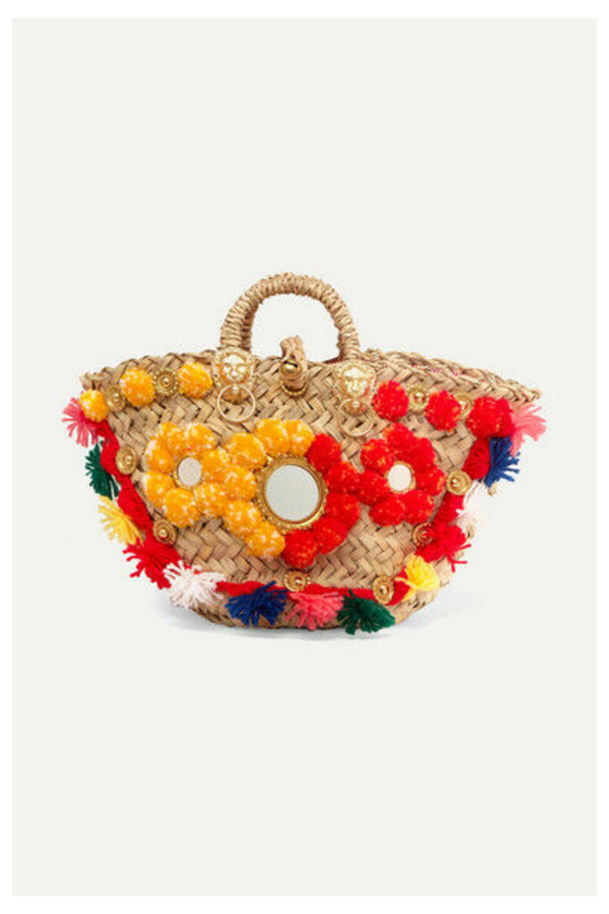 Sicily Bag - Gigi Embellished Woven Straw Tote - Yellow
