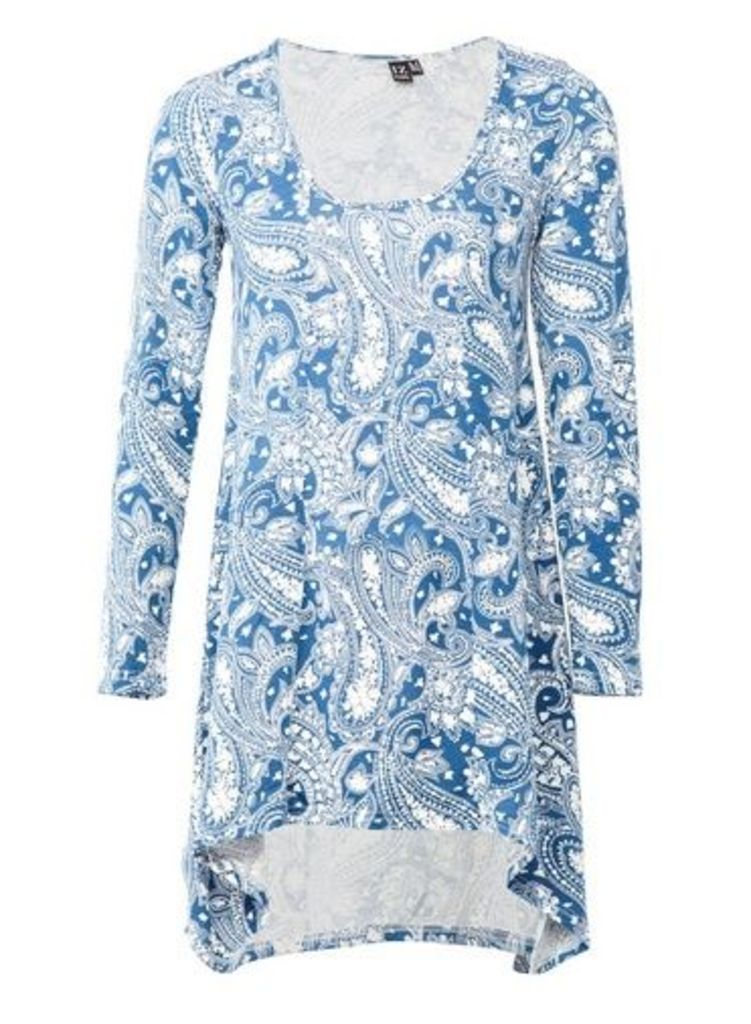 Womens *Izabel London Blue Paisley Print Top- Blue, Blue