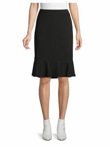 Flounce-Hem Pencil Skirt