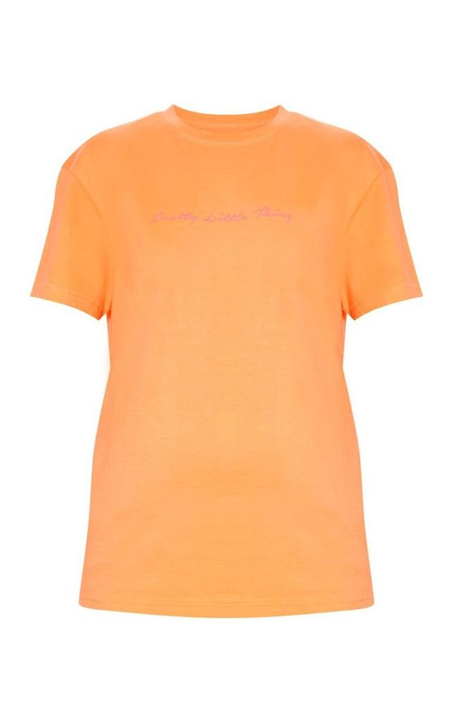 PRETTYLITTLETHING Peach Slogan Oversized T Shirt, Orange