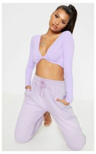 Lilac Knot Front Long Sleeve Crop Top, Purple