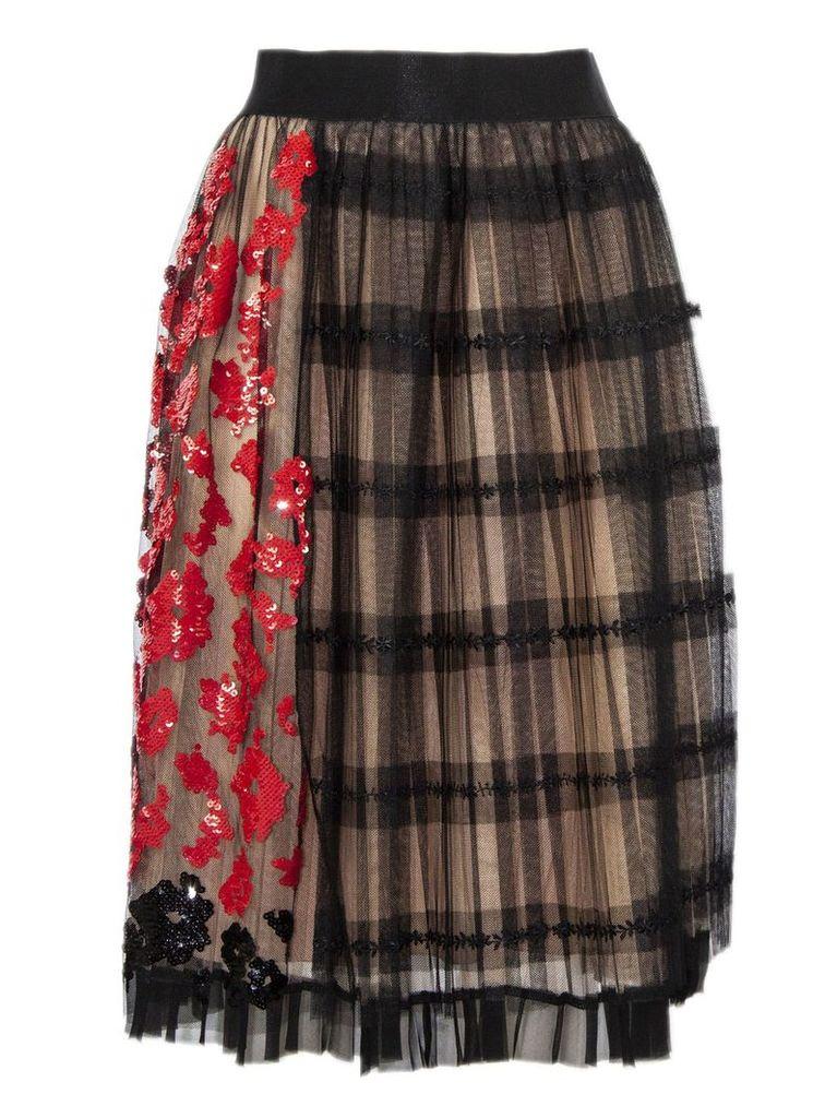 N.21 Black Silk Tulle A-line Skirt