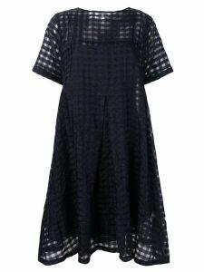 YMC Cruz big pleat check dress - Blue