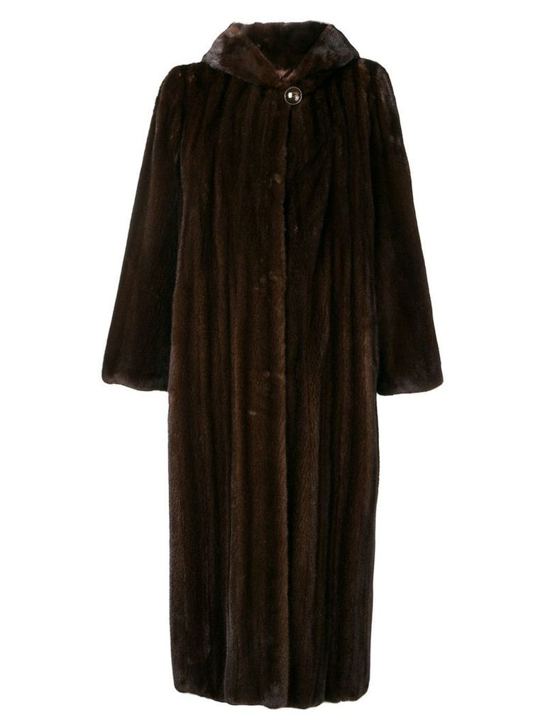 Liska long ribbed coat - Brown