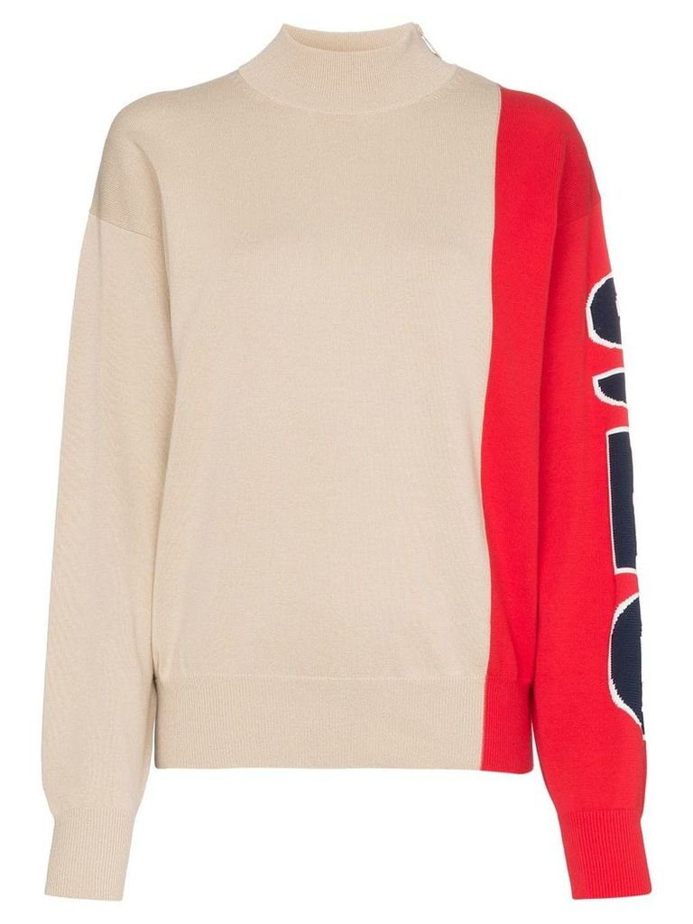 See By Chloé colour-block logo-sleeve side-zip jumper - Neutrals