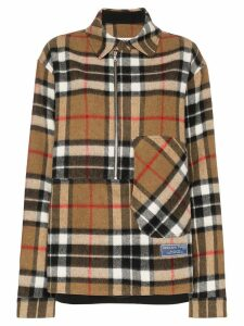 We11done zip front check wool shirt - Brown