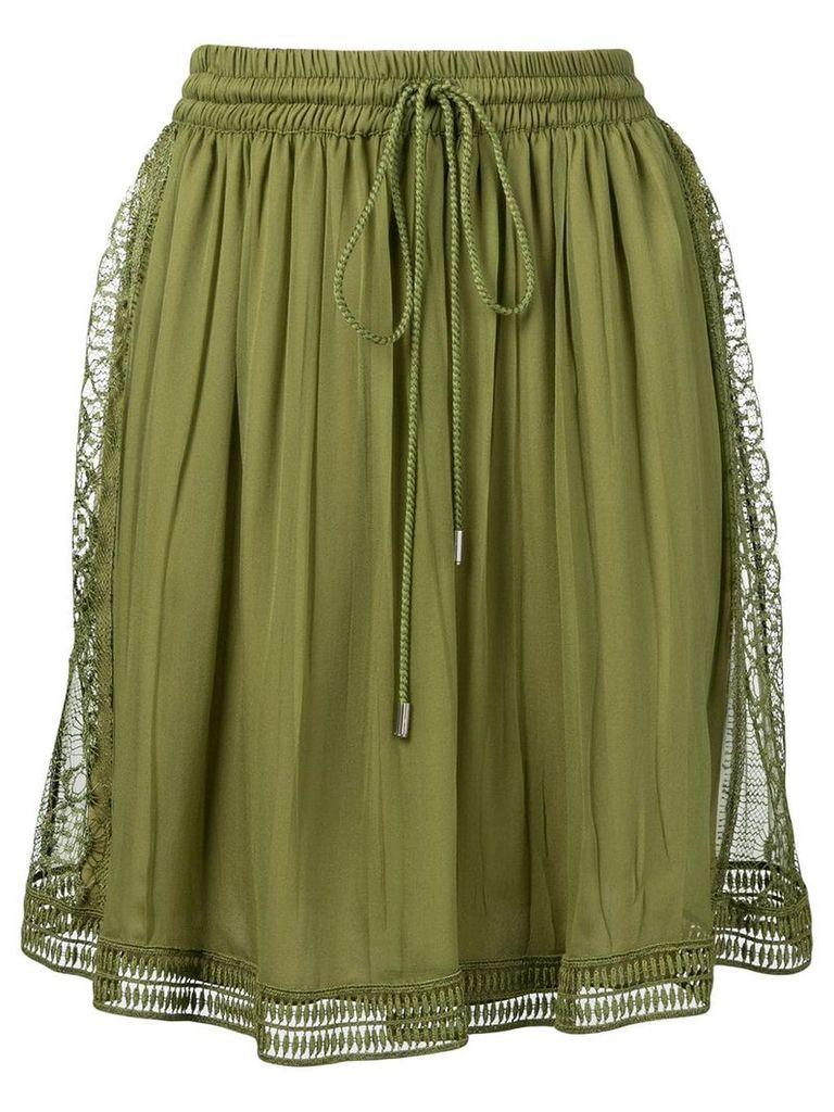 Alberta Ferretti embroidered lace trim skirt - Green