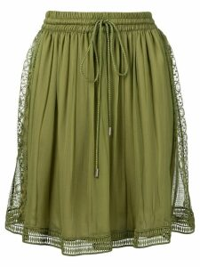 Alberta Ferretti embroidered lace trim skirt - Green