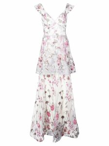 Marchesa Notte floral dress - White