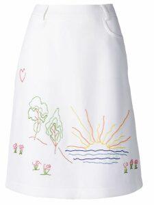 Victoria Victoria Beckham embroidered skirt - White