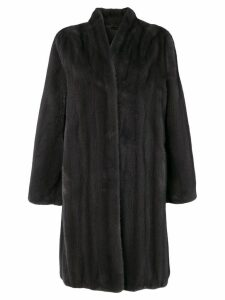 Manzoni 24 oversized fur-trimmed coat - Grey
