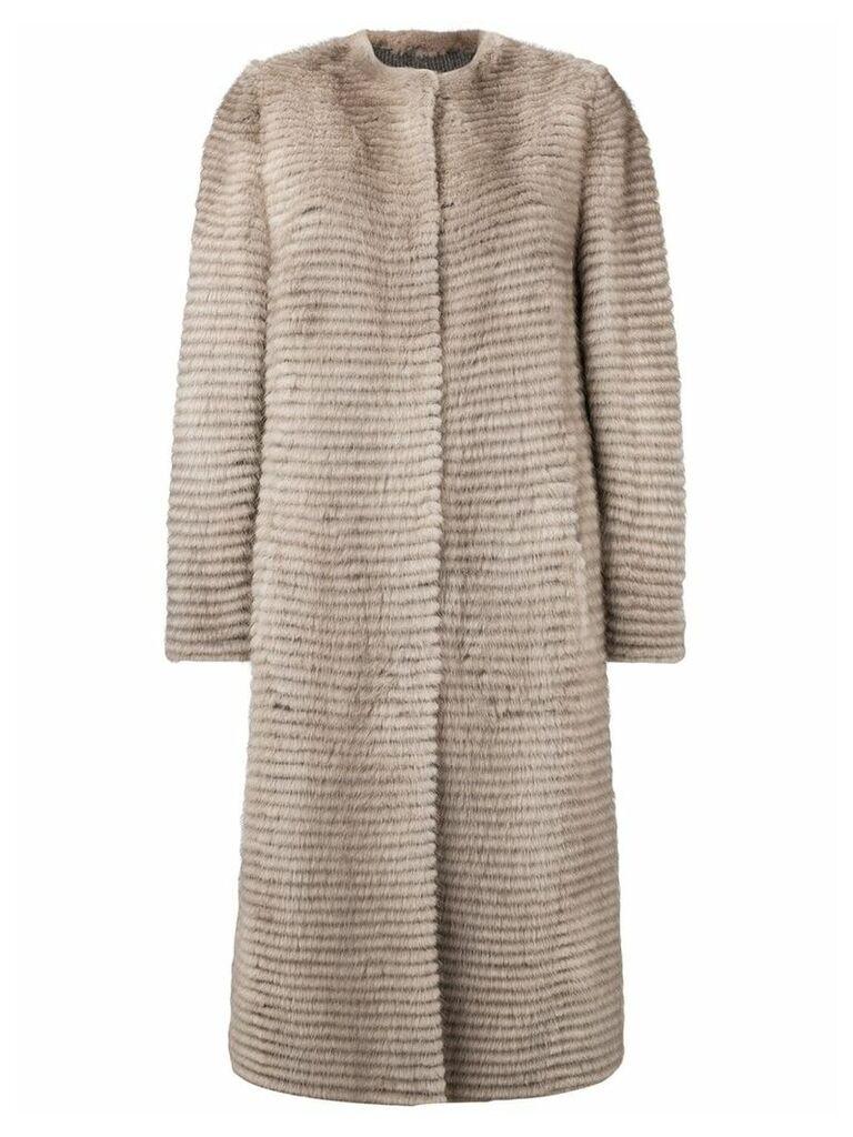 Liska button-up ribbed coat - Brown