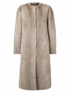 Liska button-up ribbed coat - Brown