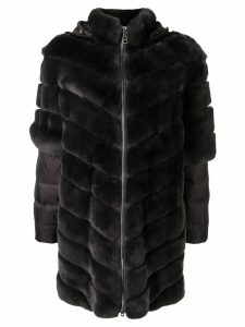 Liska mesh trimmed coat - Brown