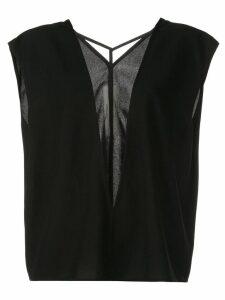 Rick Owens sheer front panel blouse - Black