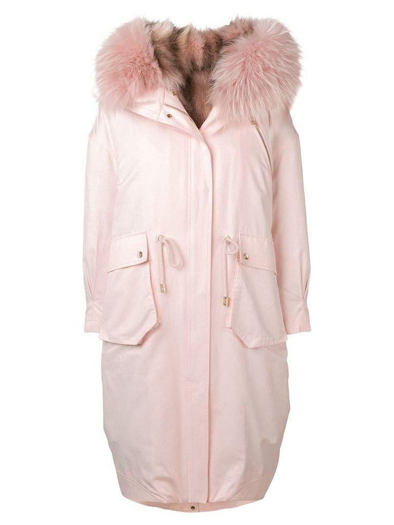 Liska fur trimmed coat - Pink