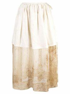 Uma Wang layered panel full skirt - White