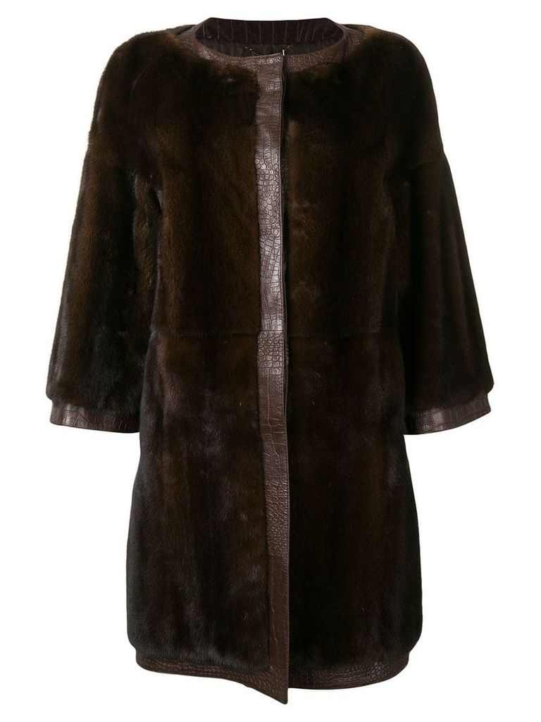 Gianfranco Ferre Pre-Owned midi trimmed coat - Brown