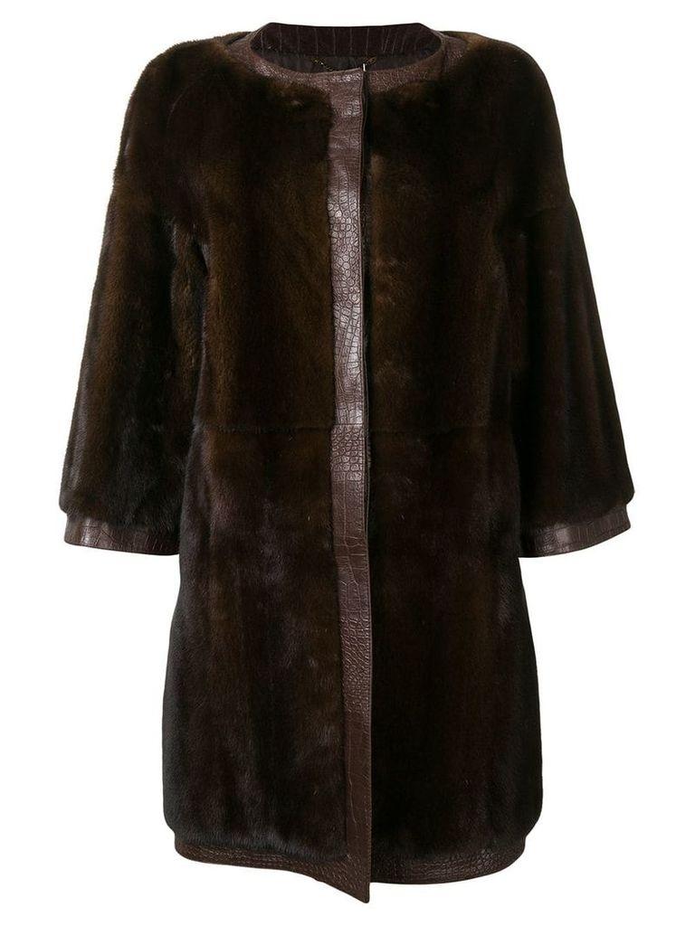 Gianfranco Ferre Vintage Vintage midi trimmed coat - Brown