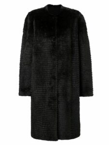 Liska oversized fur-trim coat - Brown