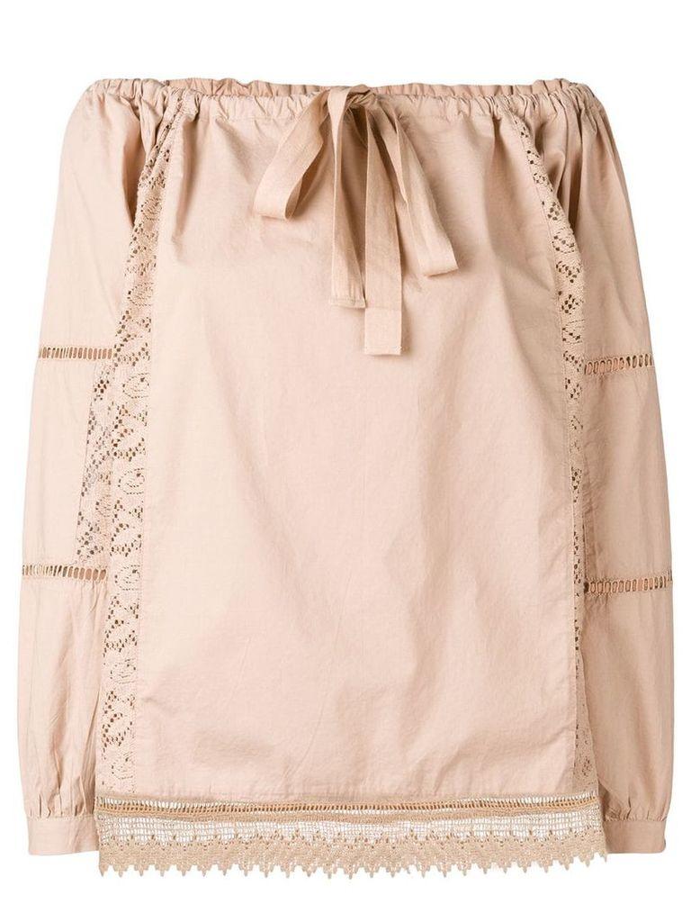 Semicouture lace trim blouse - Neutrals