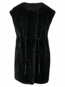 Liska fur trimmed waistcoat - Black
