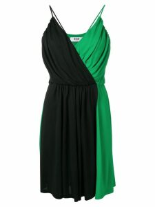 MSGM colour block wrap dress - Green