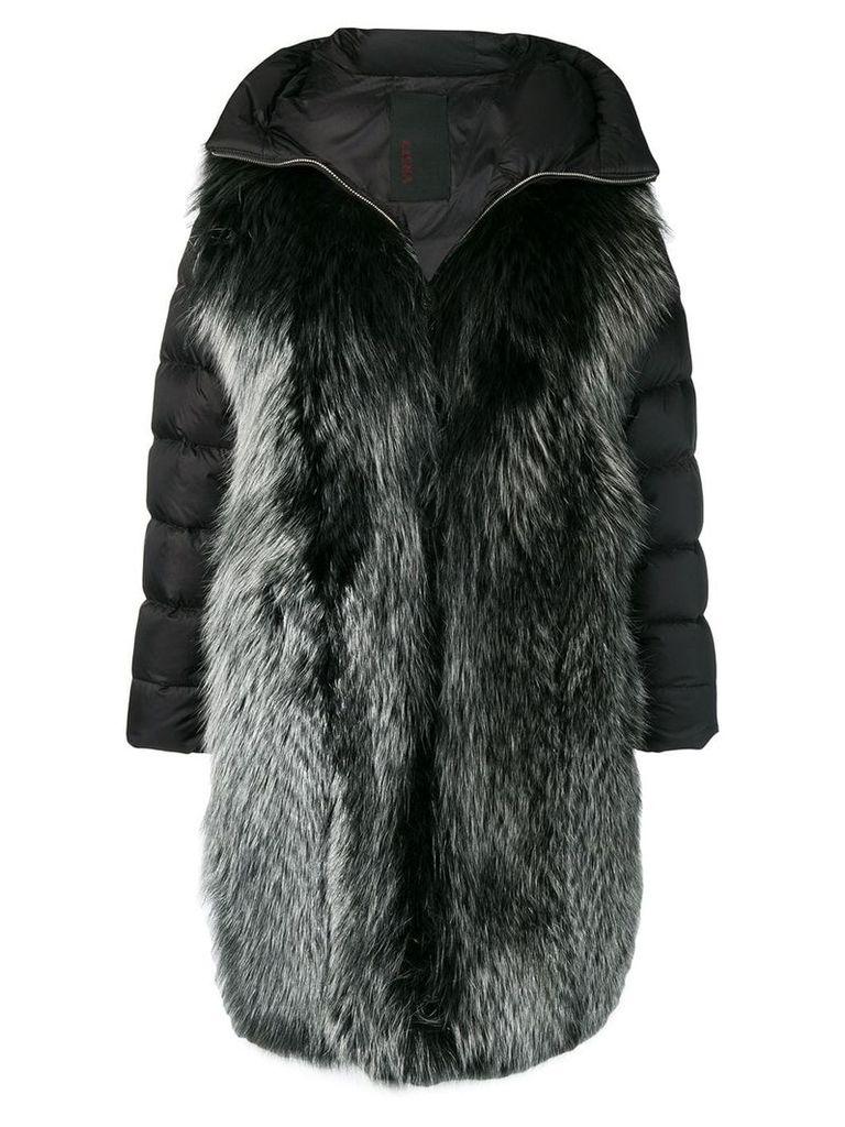 Liska wide lapelled coat - Black