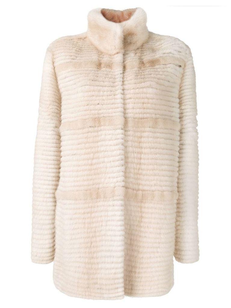 Liska fur trimmed midi coat - Neutrals