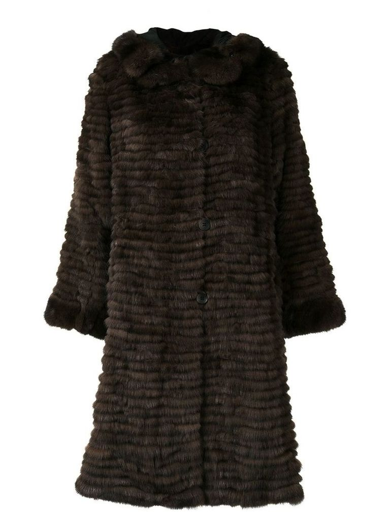 Liska Felia trimmed long coat - Brown