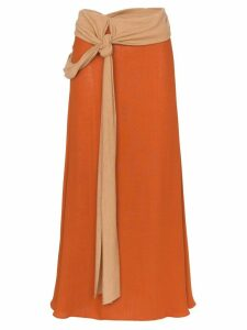 Esteban Cortazar draped wool-blend midi skirt - Orange