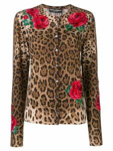 Dolce & Gabbana animal print cardigan - Brown