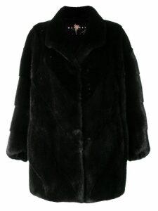 Liska classic trimmed coat - Black