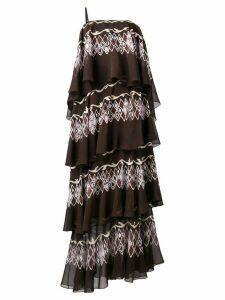 Fendi layered printed maxi dress - Brown