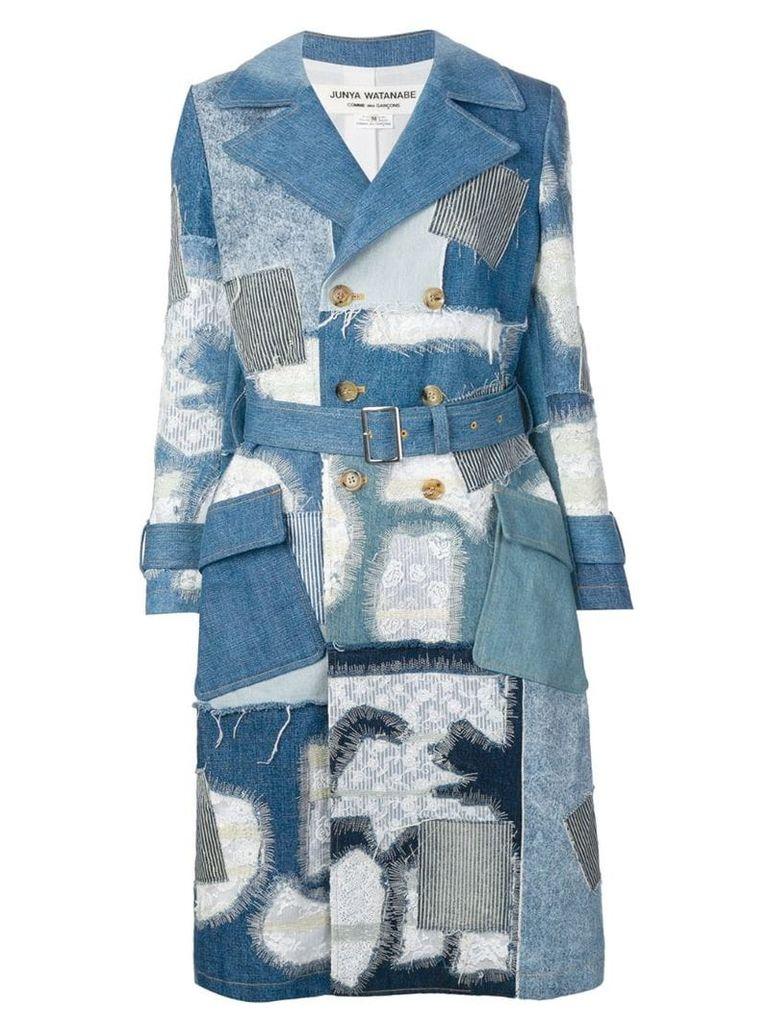 Junya Watanabe patchwork denim coat - Blue