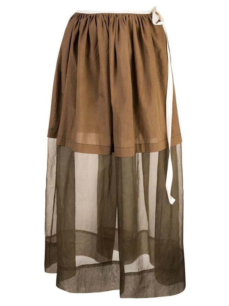 Uma Wang layered skirt - Brown
