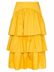 See By Chloé tiered cotton midi skirt - Yellow