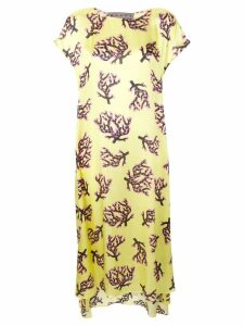 Marni coral print midi dress - Yellow