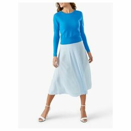 Pure Collection Soft Pleat Skirt, Pale Blue