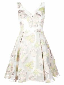 Marchesa Notte floral skater dress - White
